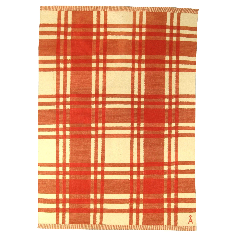 Midcentury Swedish Red and Ivory Handmade Wool Rug
