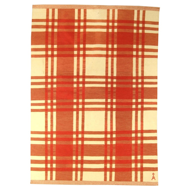Midcentury Swedish Red and Ivory Handmade Wool Rug For Sale