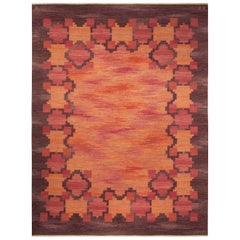 Midcentury Swedish Red and Orange Handwoven Wool Rug by Judith Johansson