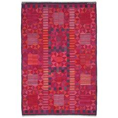 Midcentury Swedish Red, Pink & Purple Flat-Weave by Marianne Richter 'Rubirosa'