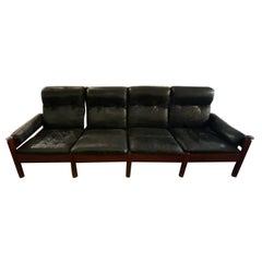 Mid-Century Swedish Sofa in Leather by Eric Merthen