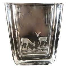 Midcentury Swedish Strombergshyttan Art Glass Vase, Etched with Deers, 1950