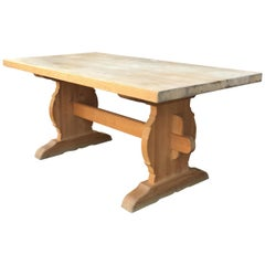 Midcentury Swedish Trestle Pine Dining Table