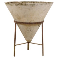 Midcentury Swiss Willy Guhl Cone Concrete Planter with Iron Stand