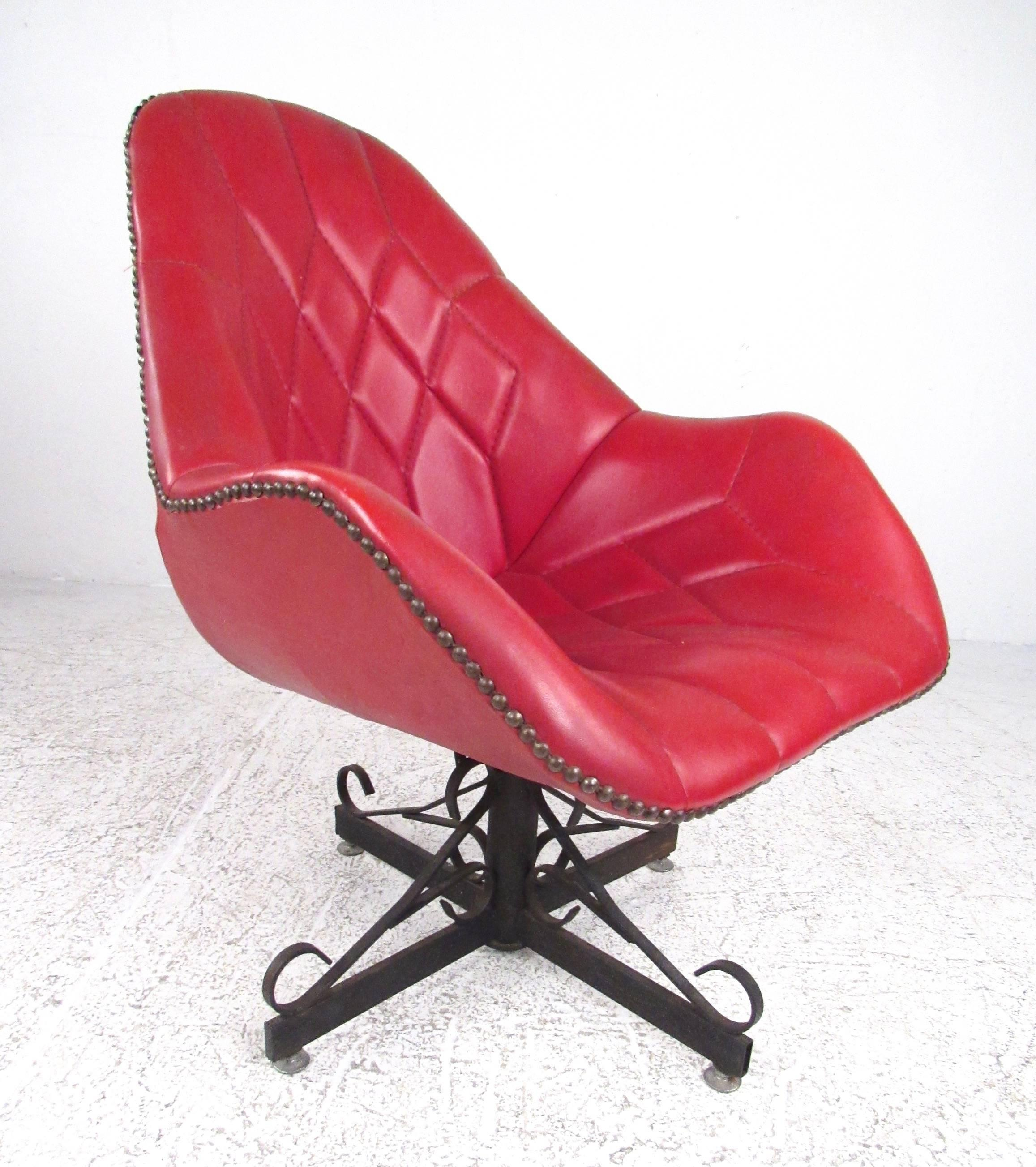 This Unique Vintage Modern Swivel Chair Features Stitched Red Vinyl With  Brass Upholstery Buttons Around The