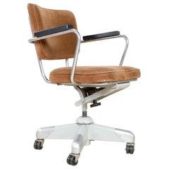 Midcentury Swivel Office Chair 358 in Oker by Hoffmann for Gispen, 1953