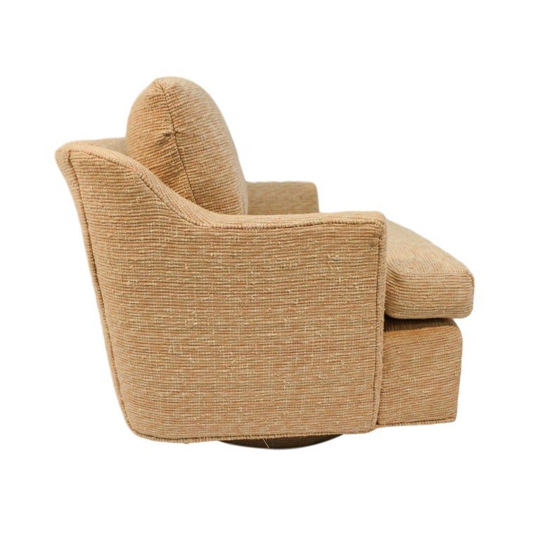 American Midcentury Swivel Tub Lounge Chair Milo Baughman Style For Sale