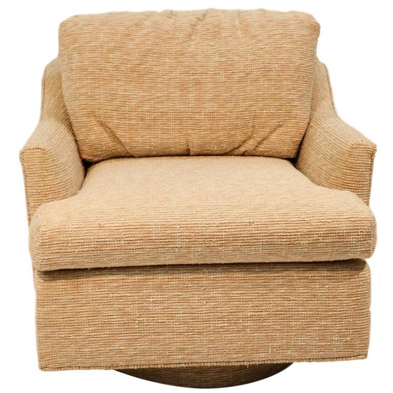 Midcentury Swivel Tub Lounge Chair Milo Baughman Style For Sale
