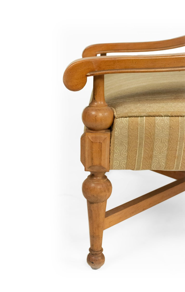 Midcentury Sycamore Upholstered Armchairs For Sale 3
