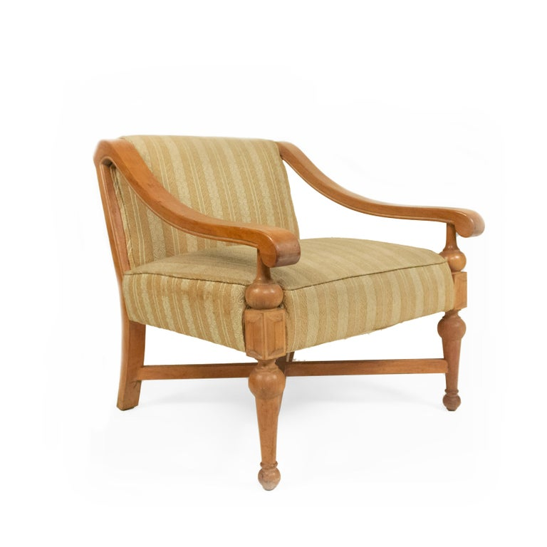 Mid-Century Modern Midcentury Sycamore Upholstered Armchairs For Sale