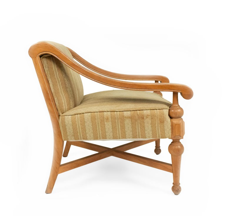 American Midcentury Sycamore Upholstered Armchairs For Sale
