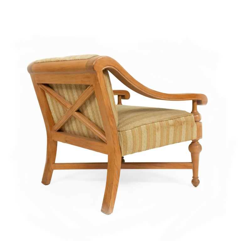 Midcentury Sycamore Upholstered Armchairs In Good Condition For Sale In New York, NY