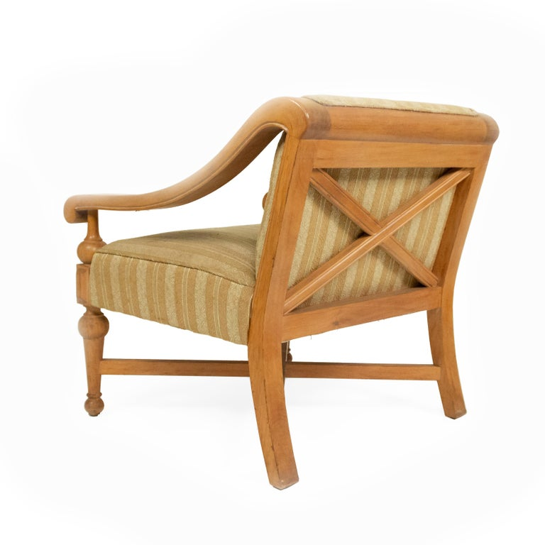 Fabric Midcentury Sycamore Upholstered Armchairs For Sale