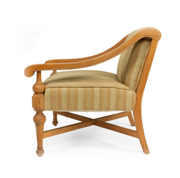 Midcentury Sycamore Upholstered Armchairs For Sale 1