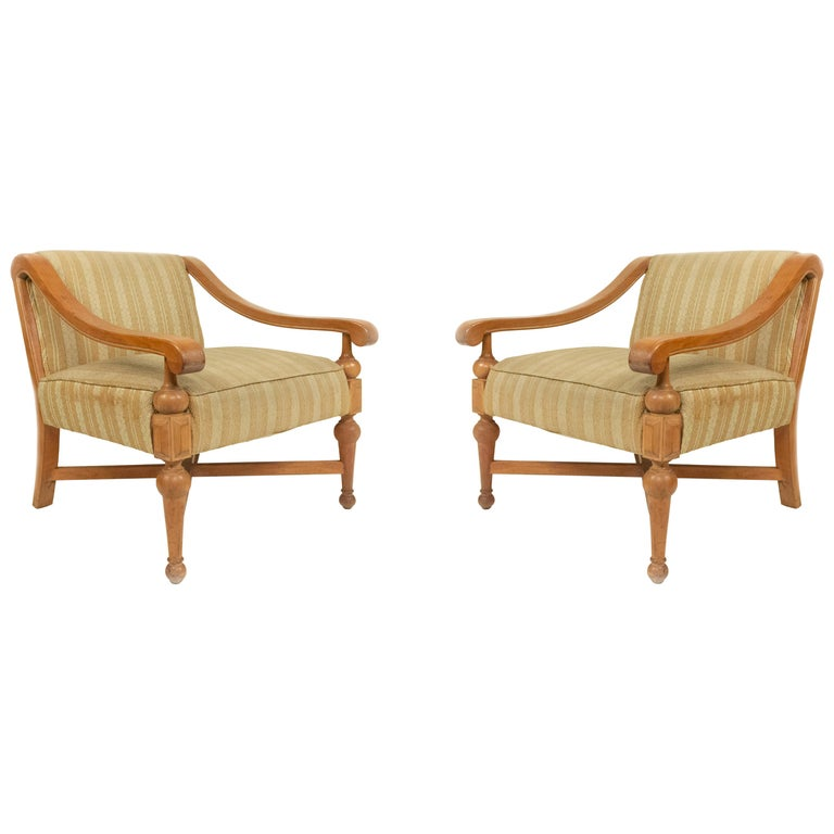 Midcentury Sycamore Upholstered Armchairs For Sale