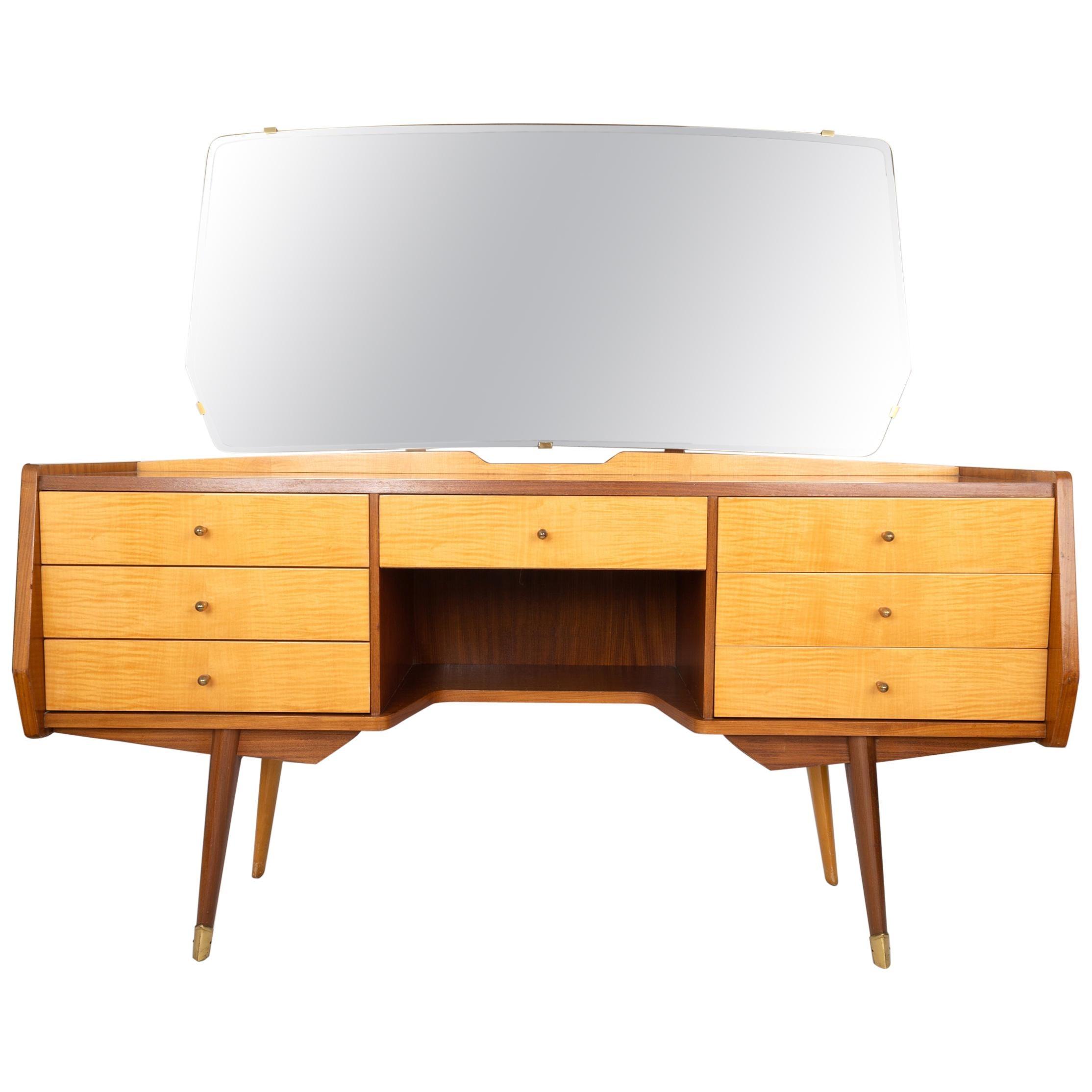 Mid Century Sycamore & Walnut Dressing Table / Vanity Table, Italy, C.1950