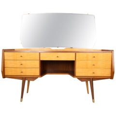 Mid Century Sycamore & Walnut Dressing Table / Vanity Table, Italy, C.1950