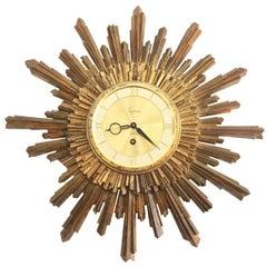 Midcentury Syroco Sunburst Wall Clock