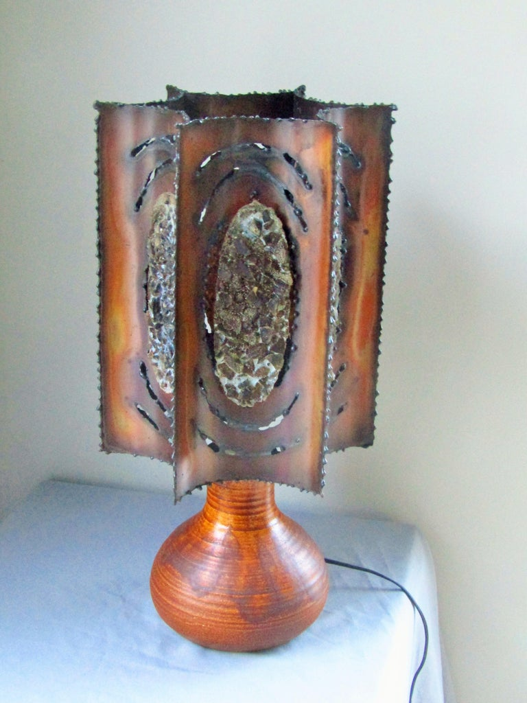 Midcentury Table Desk Lamp Signed Accolay, Brutalist, France, 1960 For Sale 4