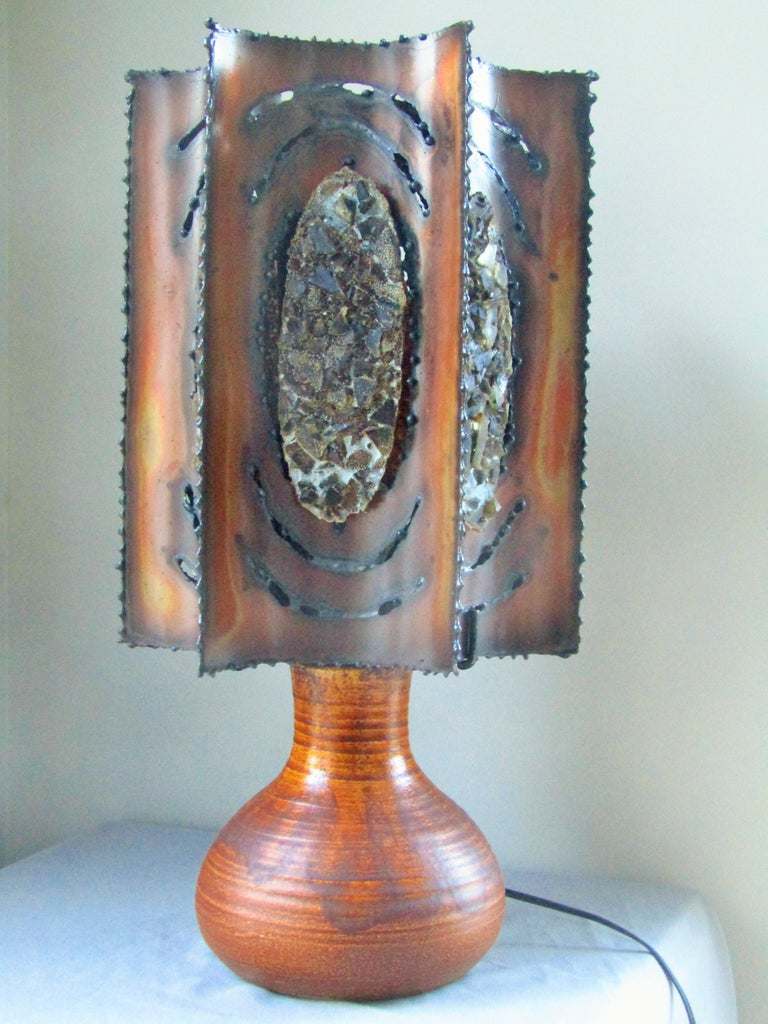 Midcentury Table Desk Lamp Signed Accolay, Brutalist, France, 1960 For Sale 6