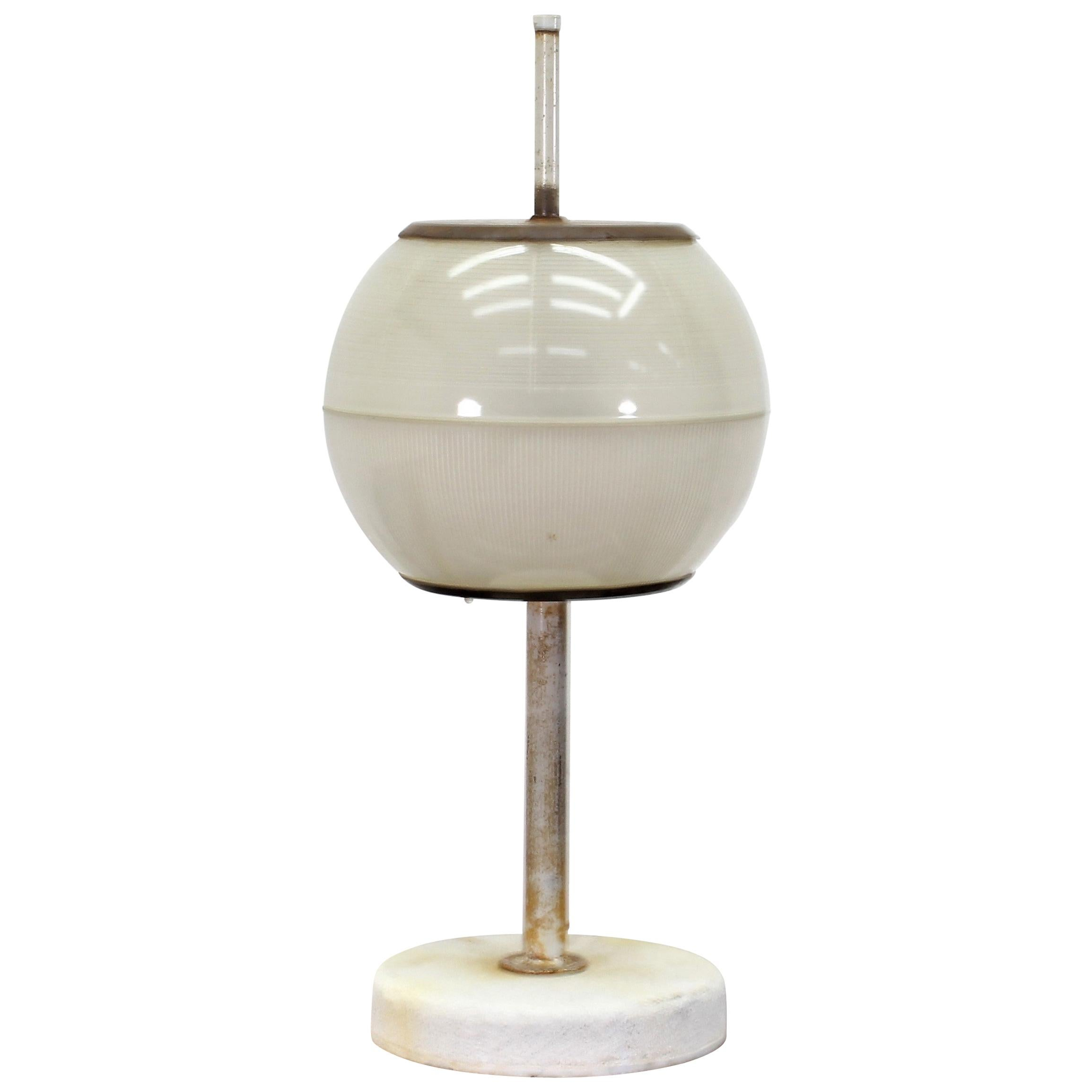 Midcentury Table Glass and Metal Lamp by Ignazio Gardella for Azucena, Italy