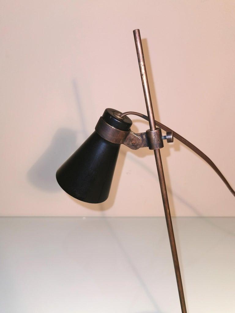 Italian Midcentury Table Lamp Sasso by Luigi Caccia Dominioni in Brass, Aluminum, 1948