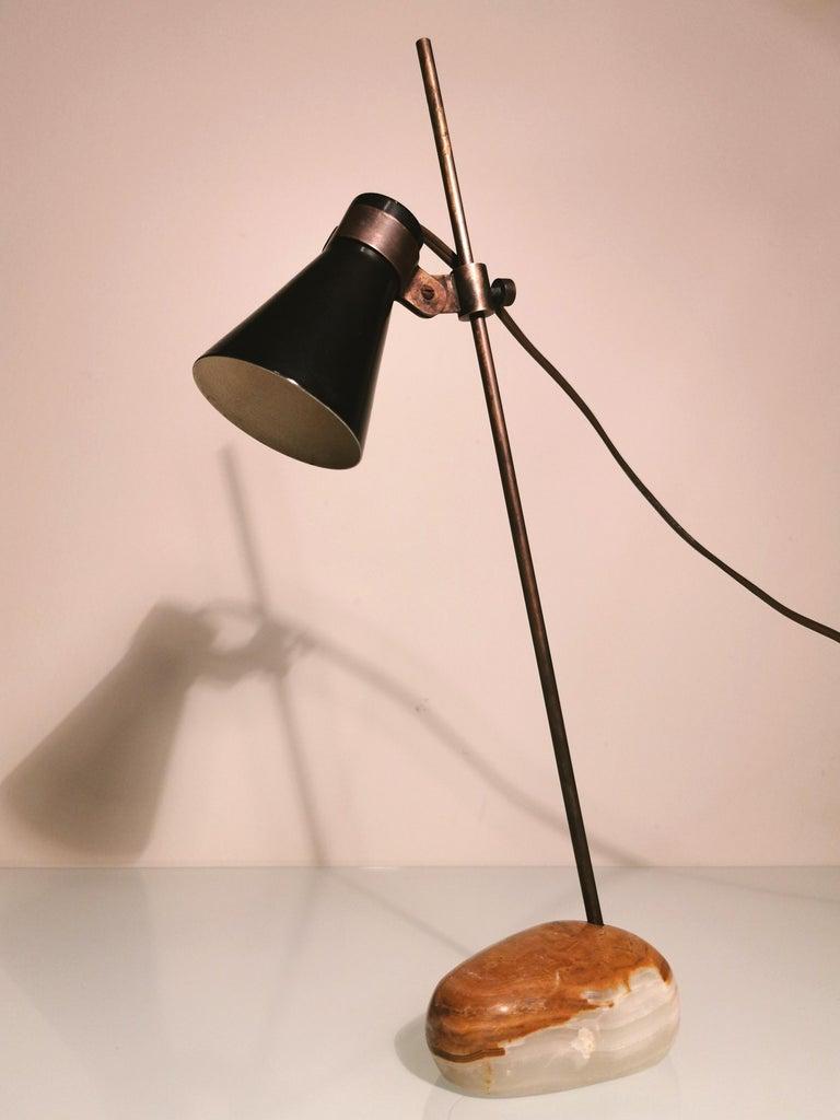 Midcentury Table Lamp Sasso by Luigi Caccia Dominioni in Brass, Aluminum, 1948 2