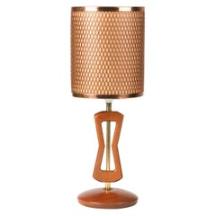 Midcentury Table Lamp with Diamonds Lattice Pattern Copper Shade