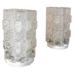 Table lamps Ice Glass Enameled Metal Mid Century Italian Design 1970s Set of 2
