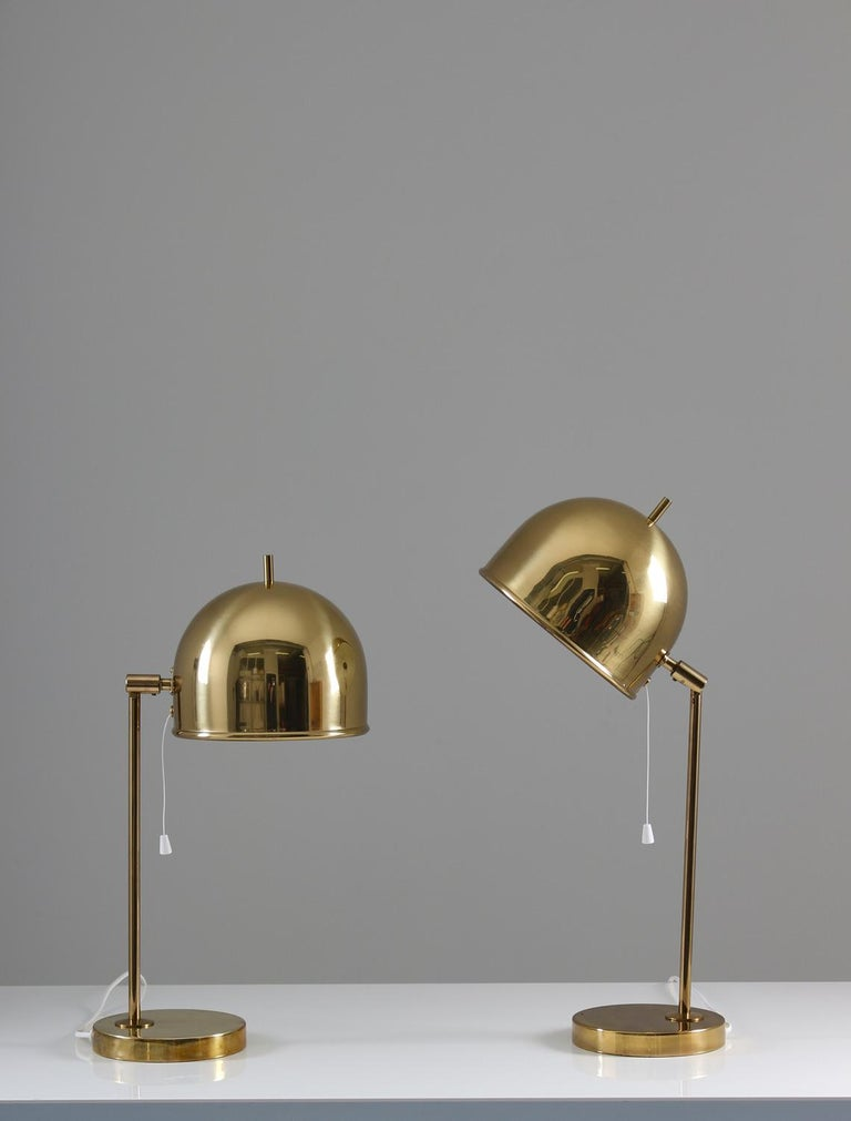 Midcentury table lamps in brass model B-075 by Eje Ahlgren for Bergboms, Sweden