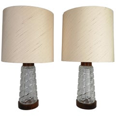 Midcentury Table Lamps Orrefors Teak and Glass Sweden