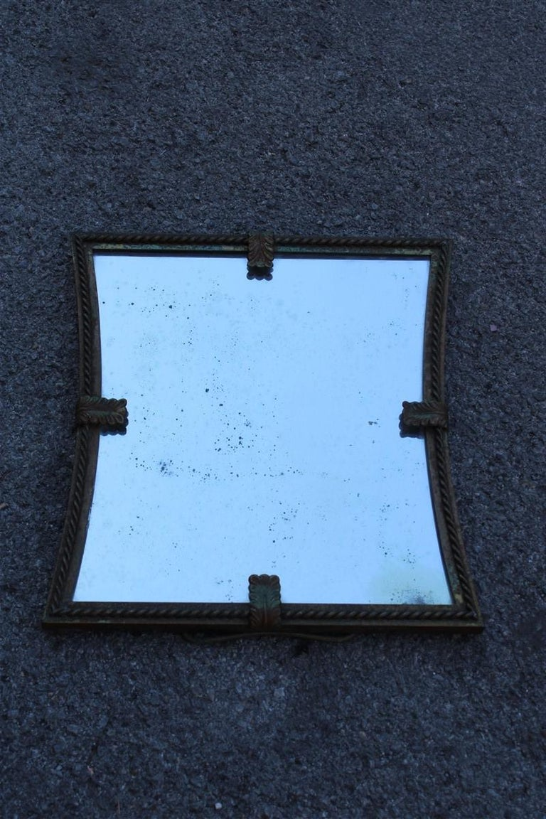 Midcentury Table Mirror Brass Gold Italian Design 1950s Leaves For Sale 1