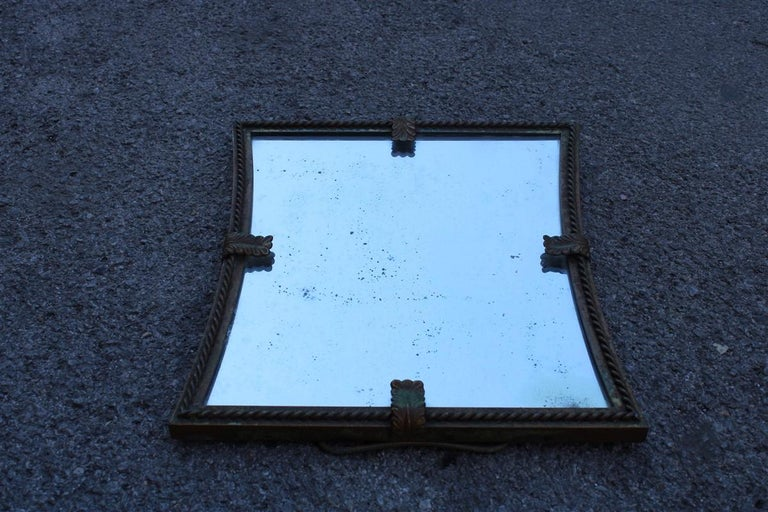 Midcentury Table Mirror Brass Gold Italian Design 1950s Leaves For Sale 2