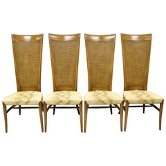 Midcentury Tall Cane Back Klismos Gibbings Style Dining Chairs, Set of 4