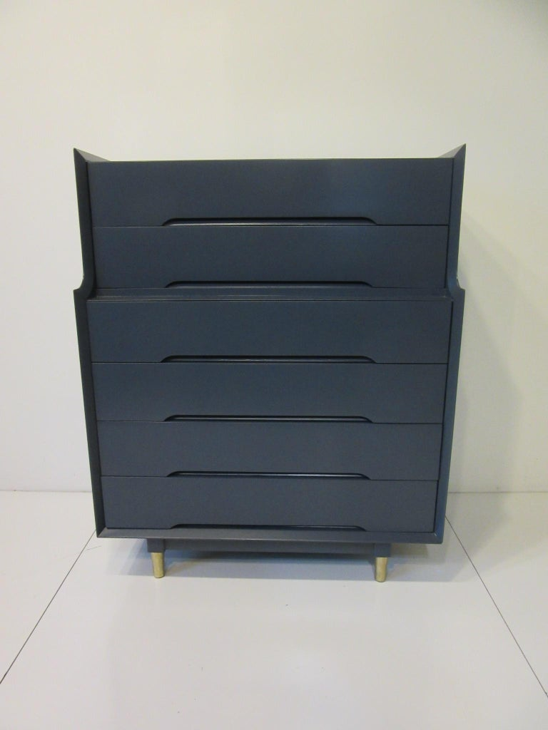 Midcentury Tall Dresser / Chest from the Beverly Hills Ensemble by T. Walczer For Sale 1
