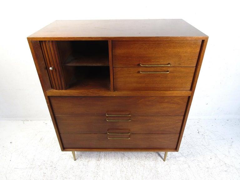 American Midcentury Tall Dresser in Walnut For Sale