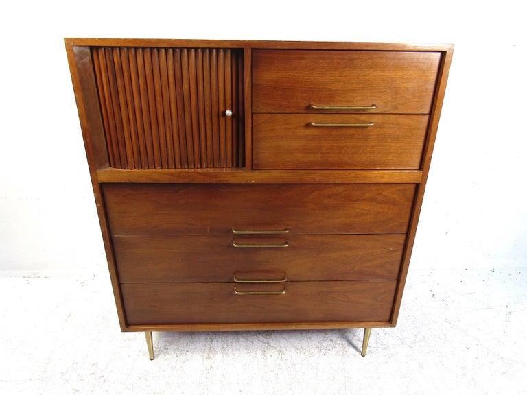 20th Century Midcentury Tall Dresser in Walnut For Sale