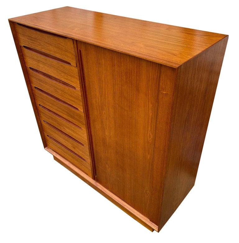 Mid-Century Modern Midcentury Tall Dyrlund Teak Dresser Wardrobe 15-Drawer For Sale