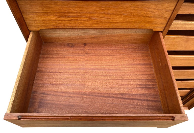 Midcentury Tall Dyrlund Teak Dresser Wardrobe 15-Drawer In Good Condition For Sale In BROOKLYN, NY