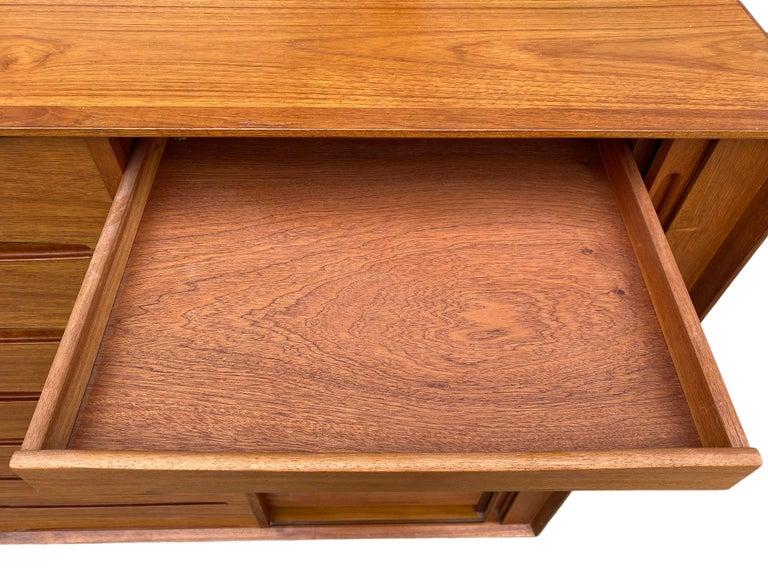 Mid-20th Century Midcentury Tall Dyrlund Teak Dresser Wardrobe 15-Drawer For Sale