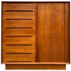 Midcentury Tall Dyrlund Teak Dresser Wardrobe 15-Drawer