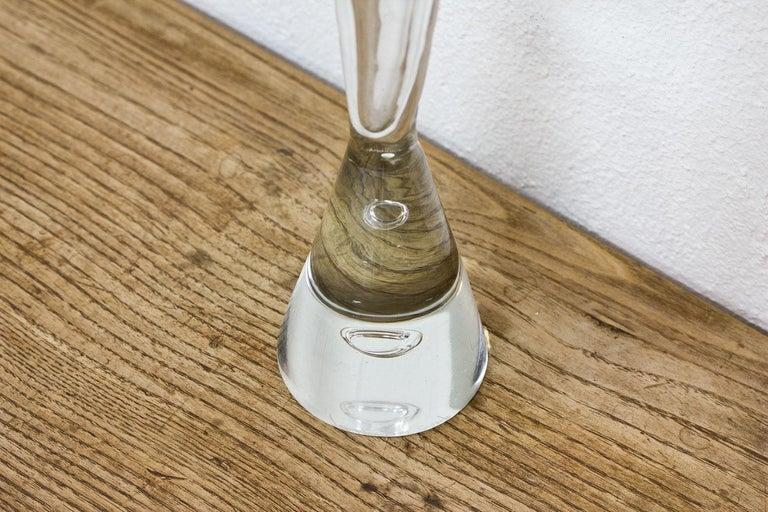 Scandinavian Modern Midcentury Tall Glass Vase by Bengt Orup, Sweden For Sale
