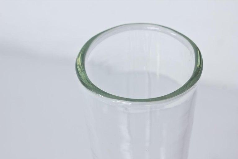 Swedish Midcentury Tall Glass Vase by Bengt Orup, Sweden For Sale