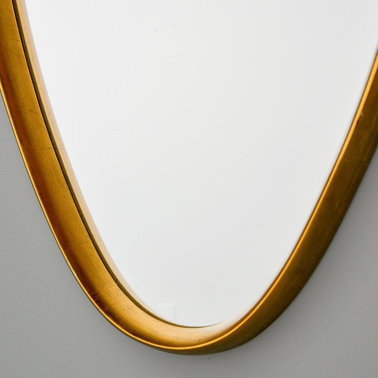 Midcentury Tall Oval Giltwood Framed Mirror For Sale 3