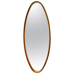 Midcentury Tall Oval Giltwood Framed Mirror