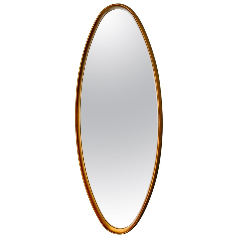 Midcentury Tall Oval Giltwood Framed Mirror For Sale