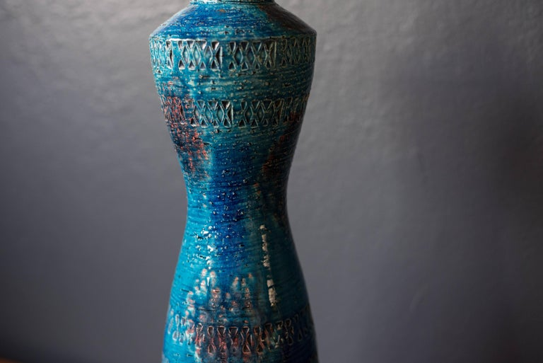Italian Mid Century Tall Rimini Blue Bitossi Lamp by Aldo Londi