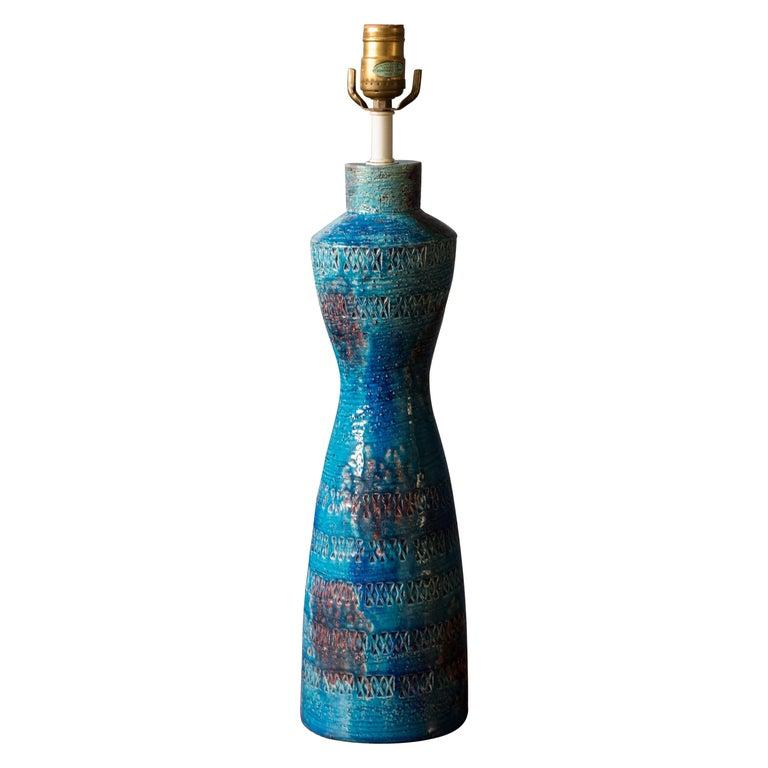 Mid Century Tall Rimini Blue Bitossi Lamp by Aldo Londi