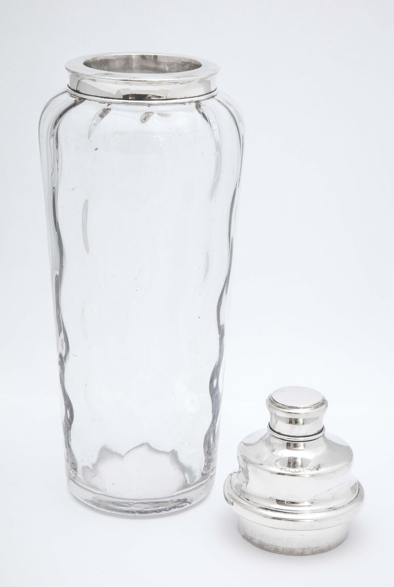 Mid-Century Tall Sterling Silver-Mounted Glass Cocktail Shaker by T.G. Hawkes For Sale 2