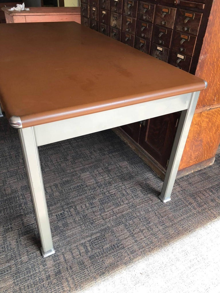 bumper desk top with refinished allsteel to order legs pontoon tanker cropped white